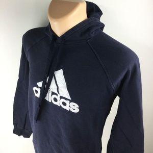 ADIDAS Pullover Long Sleeve Blue Hooded Sweatshirt